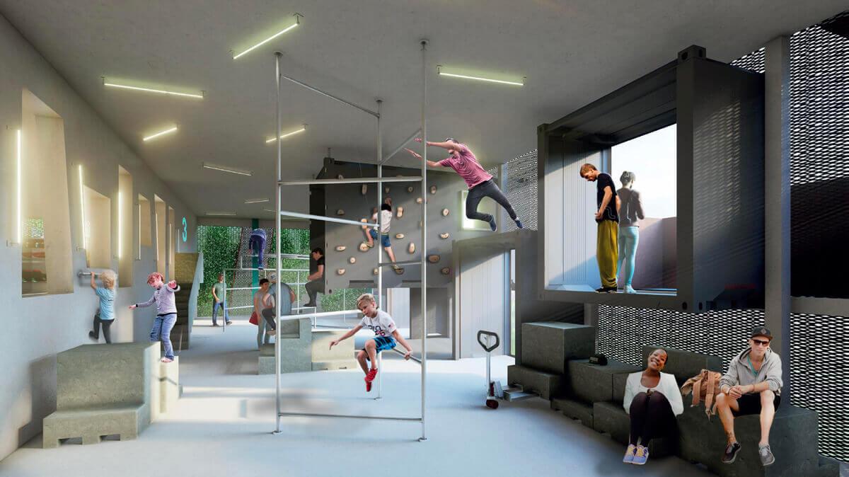 Dieses Parkhaus ist auch ein Ort für Sport und kreative Freizeitgestaltung