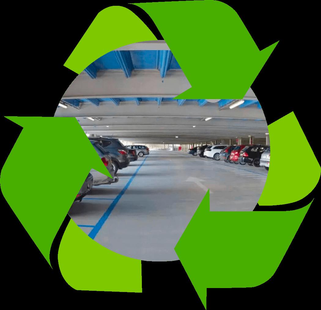 Alle Komponenten des Parkhauses sind wiederverwendbar oder recycelbar
